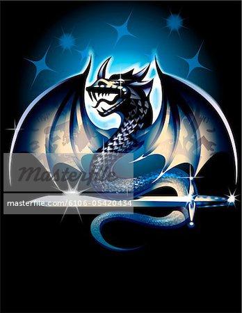 Dragon avec épée