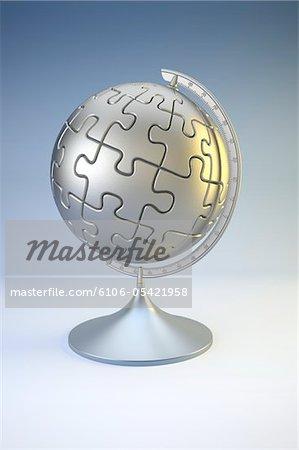 Globus im Design der Puzzleteile