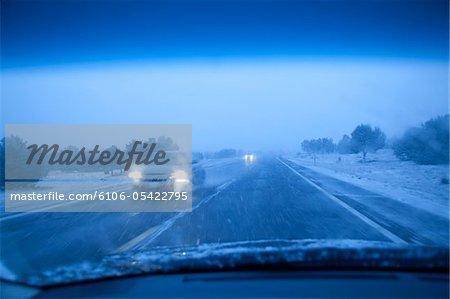 Snow Blizzard on highway