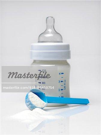 Baby bottle and milk