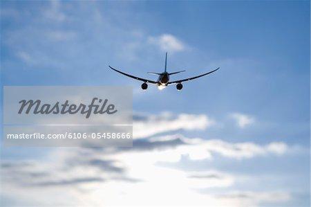 Flugzeug im Flug, Rückansicht