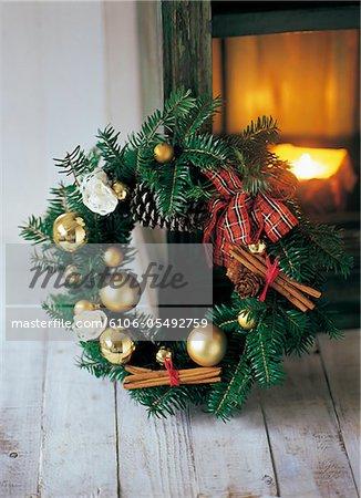 Christma wreath on wood floor