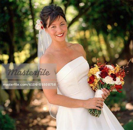 Portrait of bride outdoors