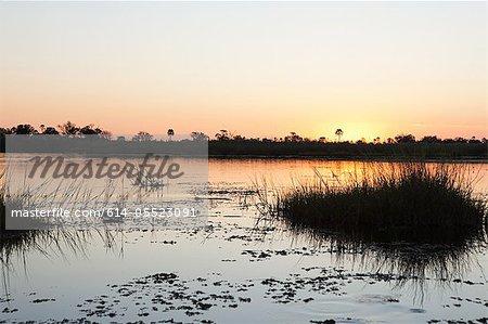 Sunset on the water in the Okavango Delta, Botswana, Africa