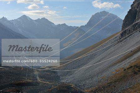 Hydro Lines and Pylons in Alps, Albula Pass, Graubunden, Switzerland