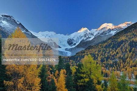 Sunrise in Mountains, Morteratsch Glacier, Bernina Pass, Pontresina, Maloja, Canton of Graubunden, Switzerland