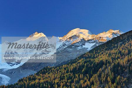 Sunrise in Mountains, Morteratsch Glacier, Bernina Pass, Pontresina, Canton of Graubunden, Switzerland