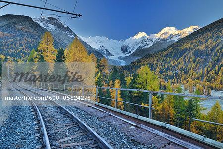 Railroad Tracks Through Mountains, Morteratsch Glacier, Bernina Pass, Pontresina, Canton of Graubunden, Switzerland