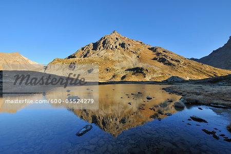 Mountain Reflected in Lake, Julier Pass, Albula Range, Switzerland