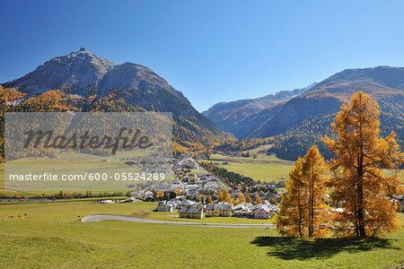 La Punt-Chamues-ch in Autumn, Maloja, Canton of Graubunden, Switzerland