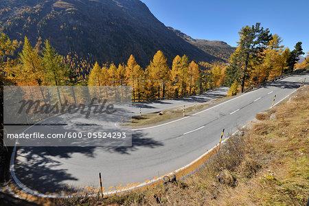 Hairpin Turn, Bernina Pass, Pontresina, Canton of Graubunden, Switzerland