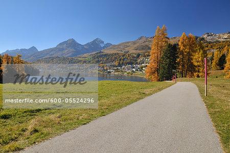 Walking Path, St. Moritz, Engadine Valley, Canton of Graubunden, Switzerland