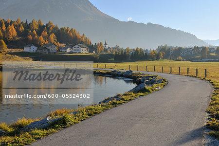 Lakeside Road in Autumn, Silsersee, Maloja, Engadin, Canton of Graubunden, Switzerland