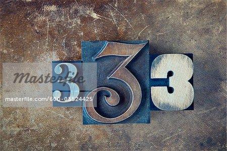Typographie nombre de 3