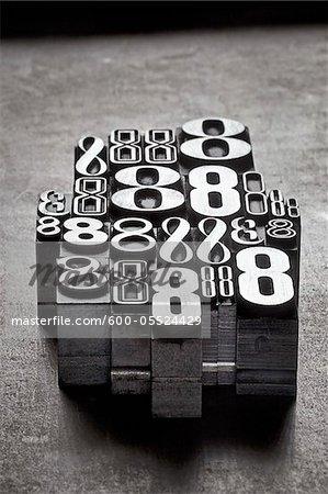 Metal Letterpress Number 8's