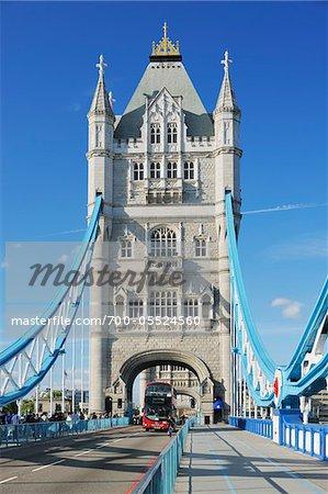 Double-Decker Bus on Tower Bridge, London, England