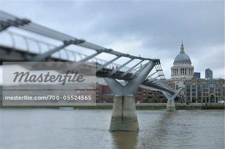 Millennium Bridge and St. Paul's Cathedral, London, England