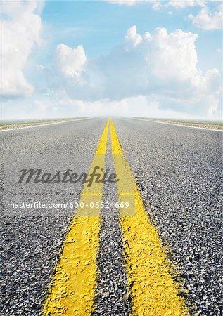 Ligne médiane de la route