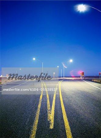 Split in road, night