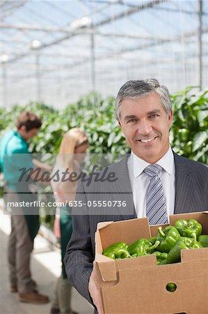 Homme d'affaires transport boîte de légumes en serre