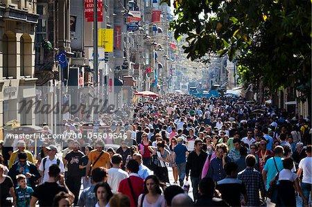 Crowded Street Scene, Istiklal Caddesi, Beyoglu District, Istanbul, Turkey