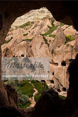 Höhle, Wohnungen, Zelve Ausgrabungsstätte, Kappadokien, Nevsehir, Türkei