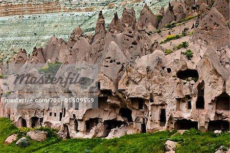 Wohnungen, Zelve Ausgrabungsstätte, Kappadokien, Nevsehir, Türkei