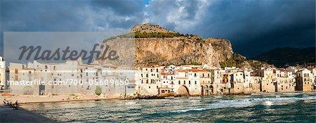Ansicht von Cefalu, Provinz Palermo, Sizilien, Italien