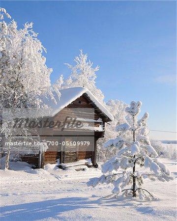Blockhaus in Winter, Kuusamo, Österbotten, Nordfinnland