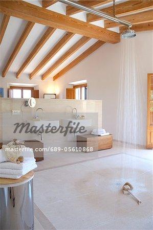 Großes Zimmer mit Waschbecken auf eine Trennwand