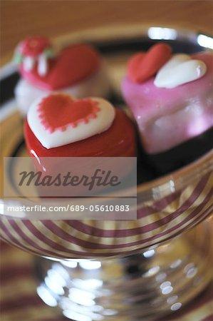 Herzförmige Süßwaren