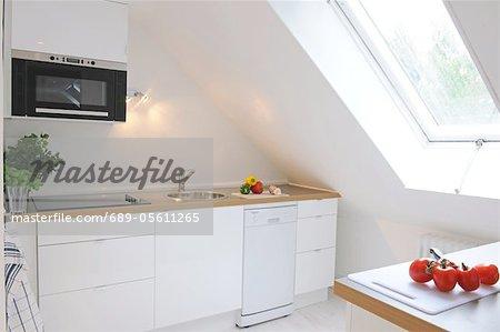 Kitchen in an attic flat