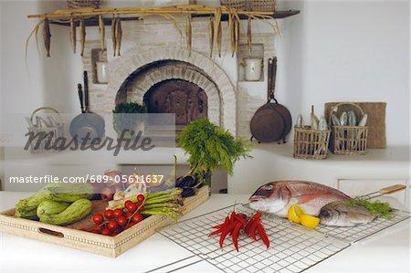 Poisson et légume en cuisine