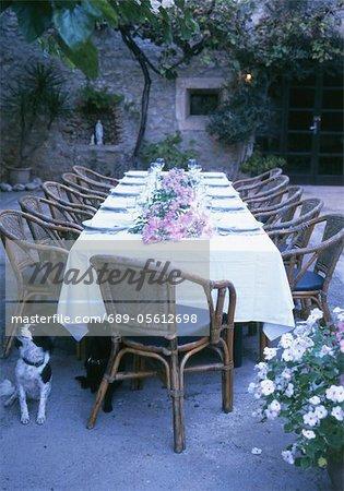 Jeté de table de jardin avec l'arrangement de la fleur