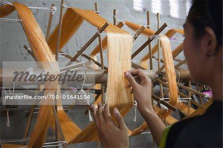 Woman Weaving Silk Fabric, Pumriang Village, Surat Thani Province, Thailand