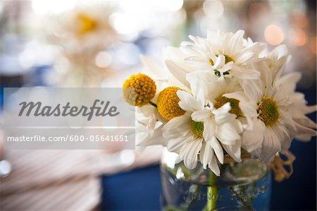Gros plan de marguerites en Vase, décorations de mariage, Muskoka, Ontario, Canada