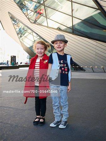 Kids Outside Royal Ontario Museum, Toronto, Ontario, Canada