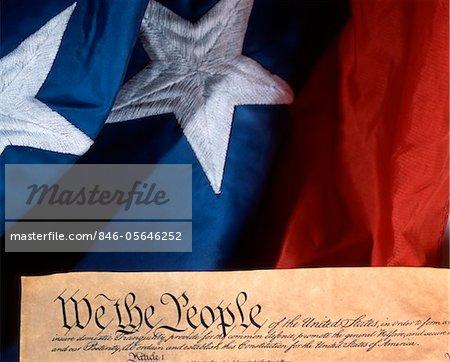 ANNÉES 1780 PATRIOTIQUE SYMBOLIQUE DE LA CONSTITUTION DES ÉTATS-UNIS ET D'UN DRAPEAU AMÉRICAIN