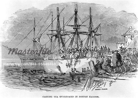 DER 1700ER DEZEMBER 1773 GRAVUR DER BOSTON TEA PARTY SONS OF LIBERTY ...