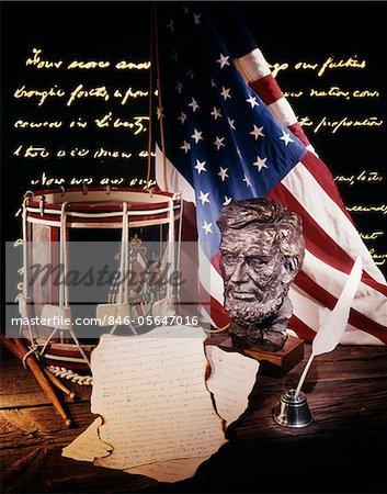 1800s - 1860s AMERICAN CIVIL WAR STILL LIFE BUST ABRAHAM LINCOLN DRUM QUILL PEN TEXT OF GETTYSBURG ADDRESS