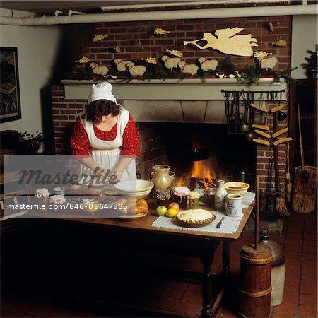 80Er Jahre Küche   80er Jahre Frau Im Kolonialen Kuche In Williamsburg Virginia Backen