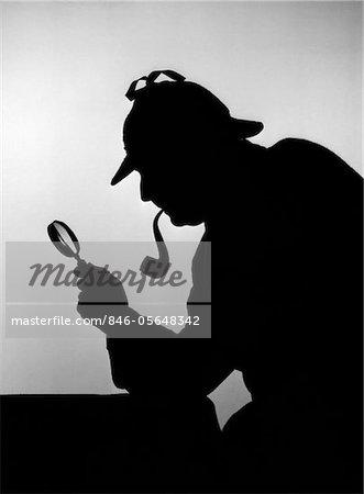 1940ER JAHRE SILHOUETTE DES SHERLOCK HOLMES MIT LUPE
