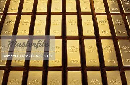 Gros plan de lingots d'or