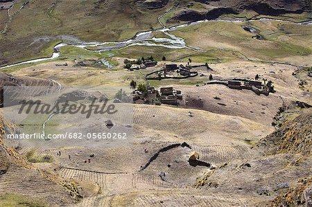 Subsistence crop farmlands near Ollantaytambo, Urubamba Province, Lares, Peru, South America