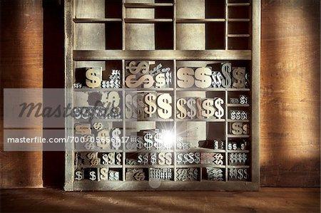 Letterpress Dollar Sign