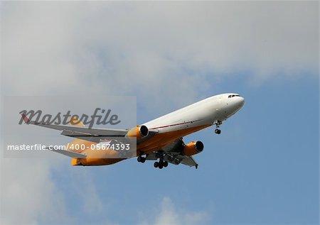 Heavy cargo jet minutes before landing