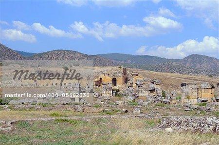 Pamukkale. Turkey. Hierapolis Amphitheatre against blue sky