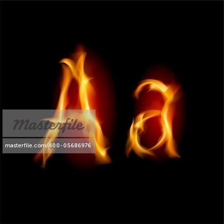 Fiery font. Letter A. Illustration on black background