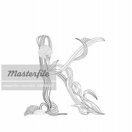 Floral font, Letter K