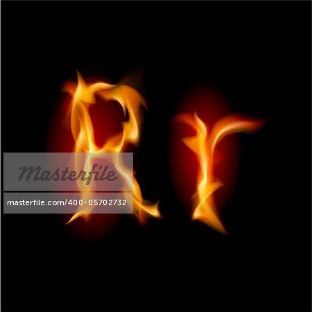 Fiery font. Letter R. Illustration on black background